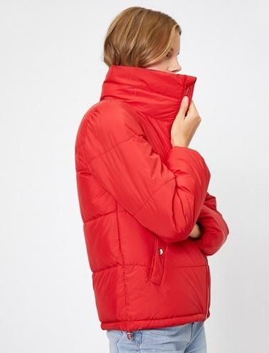 Koton Cep Detaylı Şişme Mont Kırmızı
